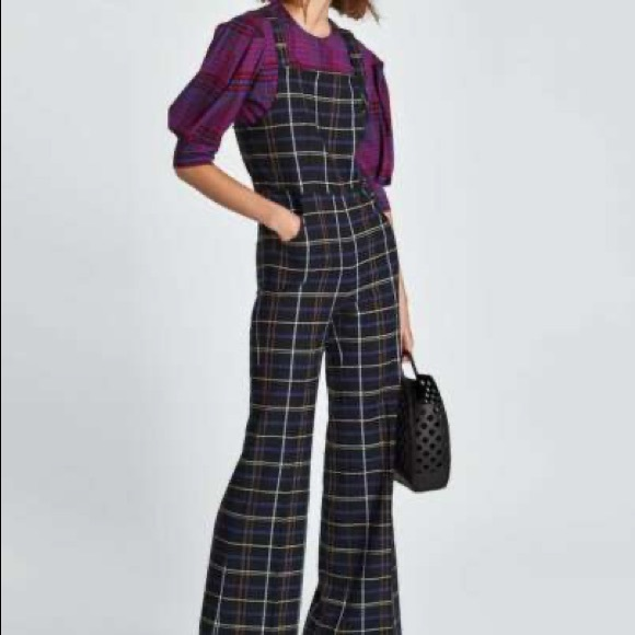 Zara Plaid Checkered Jumpsuit Overalls in Large